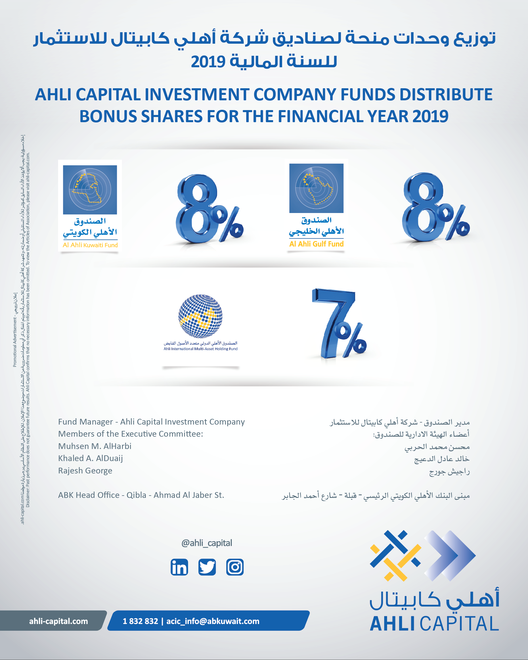 Ahli Capital Funds Distribute Bonus Shares for the Financial Year 2019